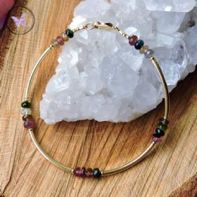 Multi Tourmaline & Silver Bangle Bracelet
